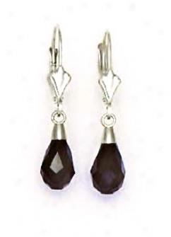 14k White 9x6 Mm Briolette Jet-black Crystal Drop Earrings