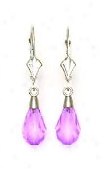 14k White 9x6 Mm Briolette Light-amethyst Crystal Earrings