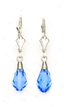 14k White 9x6 Mm Briolette Light-blue-topaz Crystal Earrings