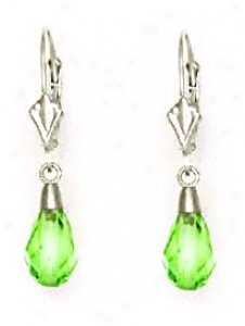 14k Happy 9x6 Mm Briolette Peridot-green Crystal Earrings