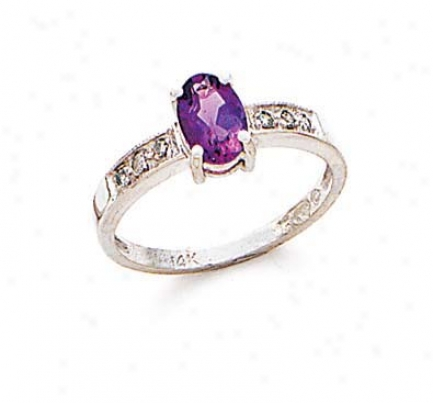 14k White Amethyst And Diamond Ring