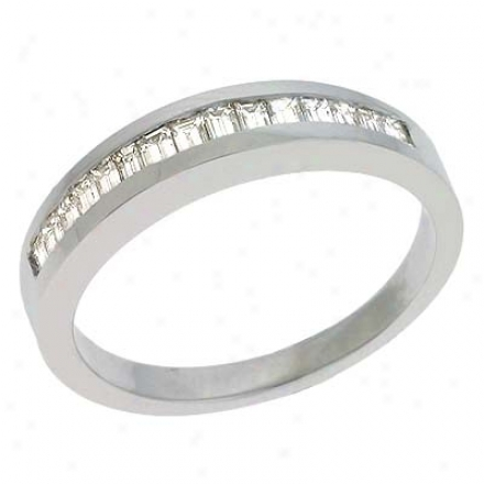 14k White Bagueette 0.5 Ct Diamond Band Clique
