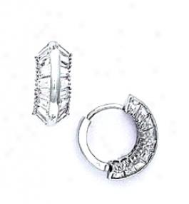 14k White Baguettd Cz Hinged Earrings