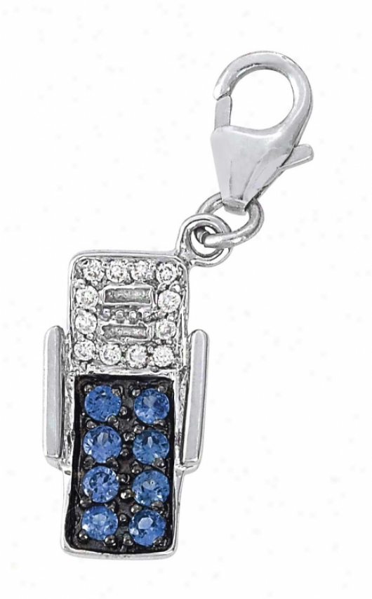14k White Beaxh Chair 1.5 Mm Sapphire And Diamond Charm