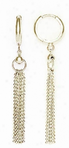 14k White Drop Drop Hinged Earrings
