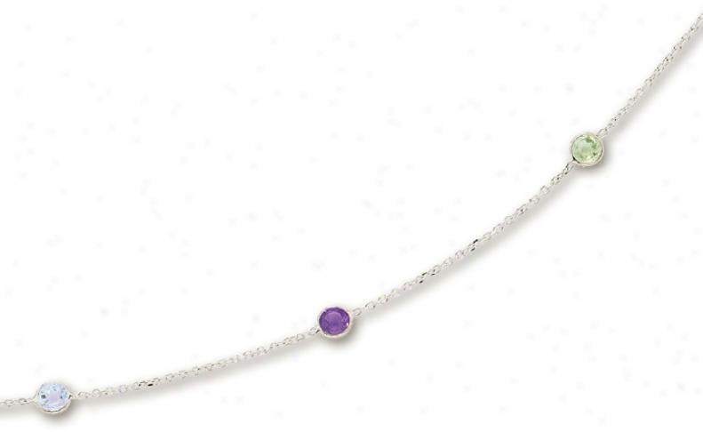 14k White Besel Set Gemstone Neckoace - 16 Inch