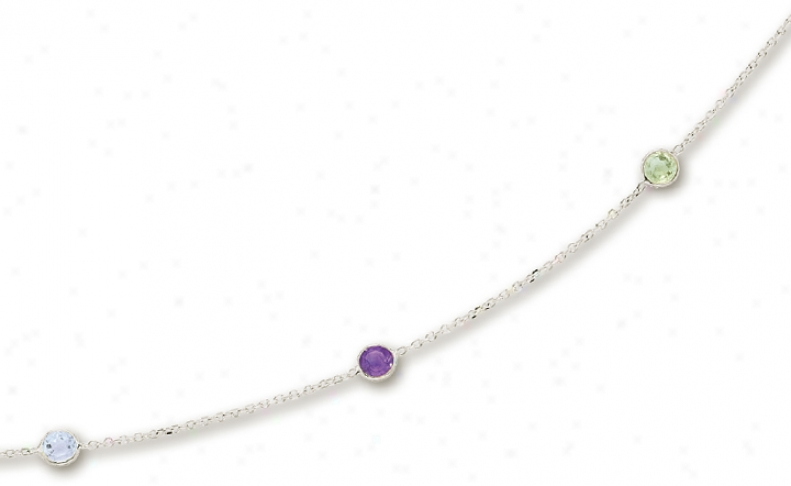 14k White Besel Set Gemstone Necklace - 18 Inch