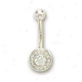 14k White Bezel And Round Cubic Zirconia Belly Ring