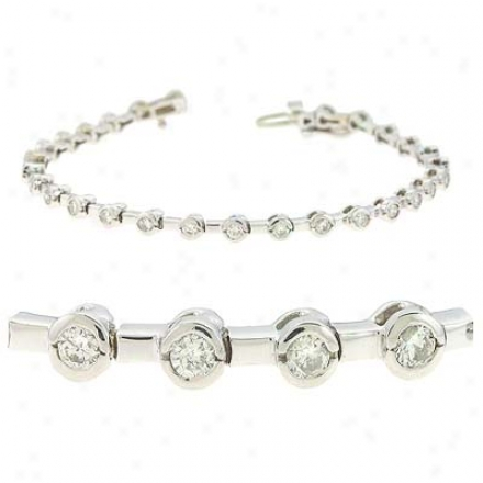 14k White Bezel-set Tennis 2 Ct Diamond Bracelet
