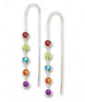14k White Bezel Station Threader Gemstone Earrings