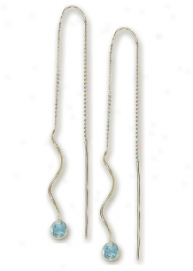 14k White Bezel Threader Blue Topaz Earrings