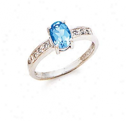 14k White Blue Topaz And Diamond Ring