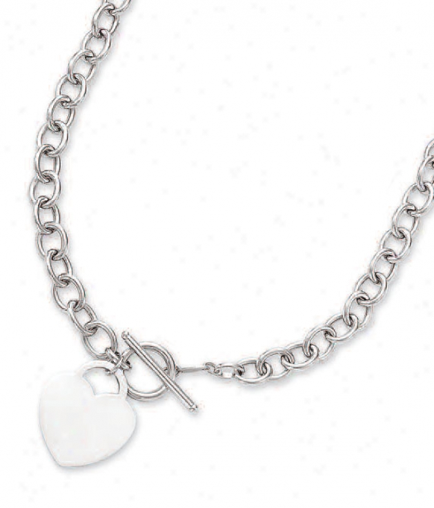 14k White Bold Heart Charm And Toggle Necklace - 17 Inch