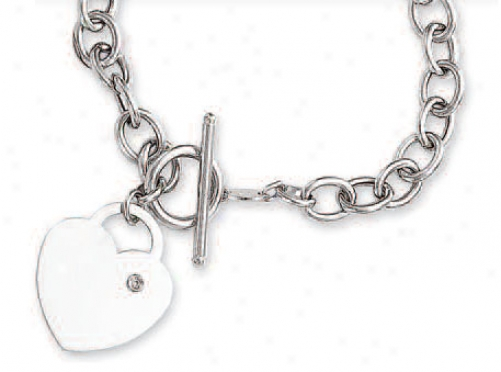 14k White Bold Heart Charm Toggle Diamond Bracelet - 7.5 Inc