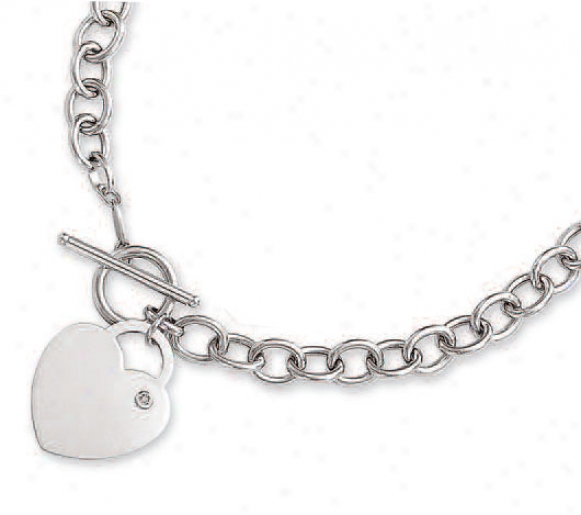14k White Bold Heart Charm Toggle Diamond Necklace - 17 Inch