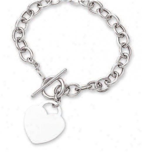 14k White Bold Heart Shaped And Toggle Bracelet - 7.5 Inch
