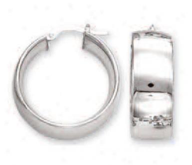14k White Bold Mirror Hoop Earrings