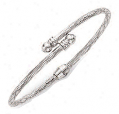 14k White Bypass Twisted Cuff Bangle - 7 Inch