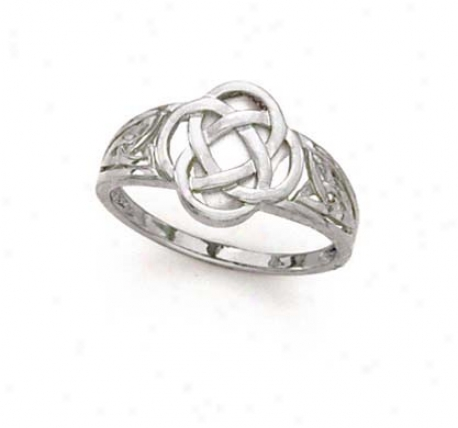 14k White Celtic Knot Ring