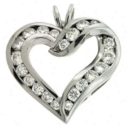 14k White Chabnel-set Heart 1.59 Ct Dlamond Pendant