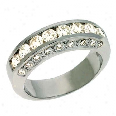 14k White Channel-set Pave Round 1.22 Ct Diamond Band Ring