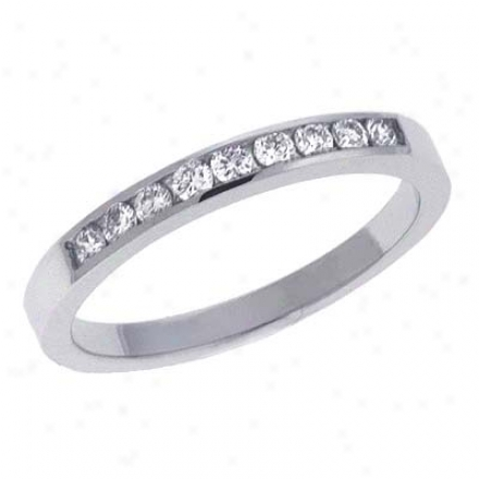 14k White Channel-set Round 0.2 Ct Diamond Band Ring
