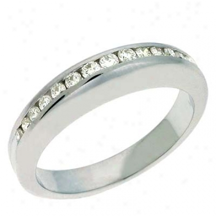 14k White Channel-set Round 0.27 Ct Diamond Band Ring