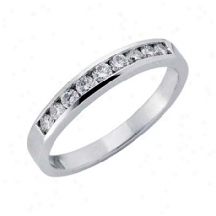 14k White Channel-set Round 0.35 Ct Diamond Band Ring