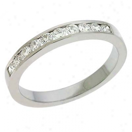 14k White Channel-set All over 0.42 Ct Diamond Band Ring