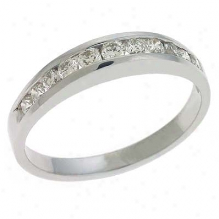 14k Whhite Channel-set Round 0.43 Ct Diamond Band Ring