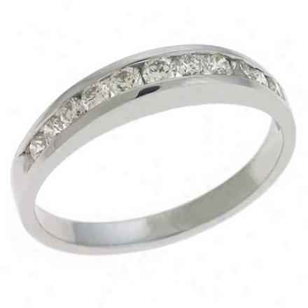 14k Whhite Channel-set Round 0.43 Ct Diamond Band Ring