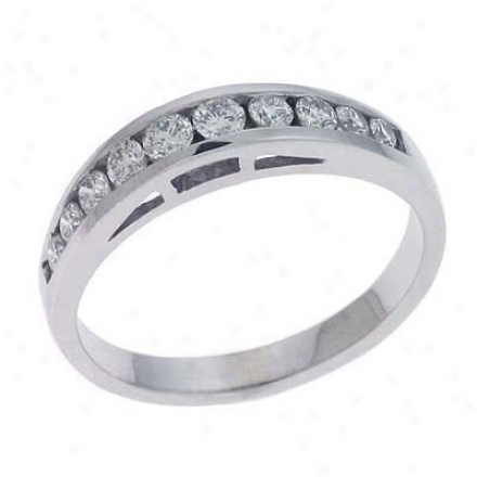 14k White Channel-set Round 0.44 Ct Diamond Band Ring