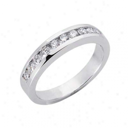 14k White Channel-set Round 0.53 Ct Diamond Band Ring