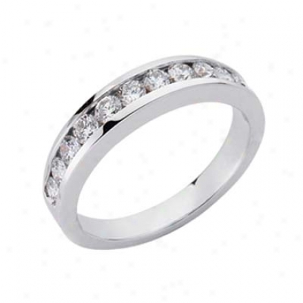 14k White Channel-set Round 0.73 Ct Diamond Band Ring