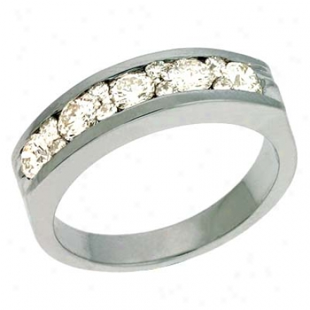 14k White Channel-set Round 0.75 Ct Diamond Band Clique