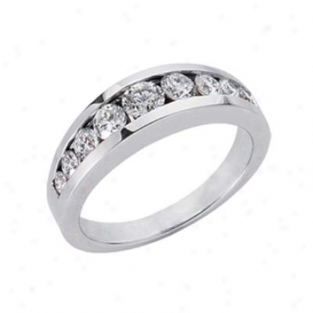 14k White Channel-set Round 0.82 Ct Diamond Band Ring