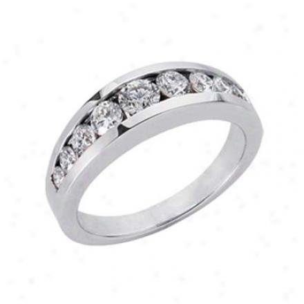 14k White Channel-set Round 0.82 Ct Diamond Band Ring