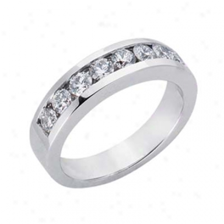 14k White Channel-set Round 0.83 Ct Diamond Band Ring