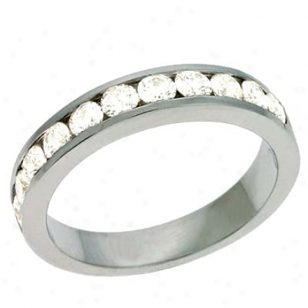 14k White Channel-set Round 0.84 Ct Diamond Band Ring