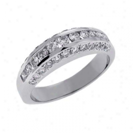 14k White Channel-set Round 0.96 Ct Diamond Band Ring
