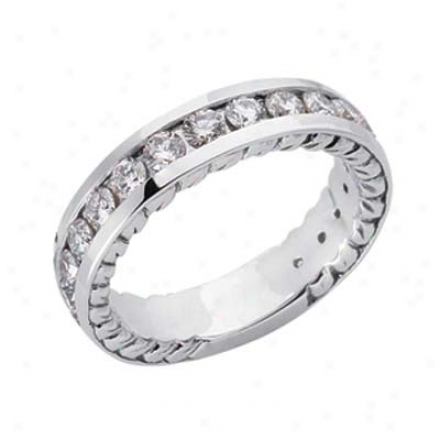 14k White Channel-set Round 1.41 Ct Diamond Engagement Bamd