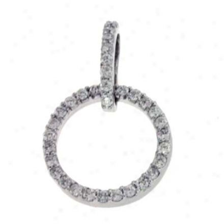 14k White Orb 0.39 Ct Diamond Pendant