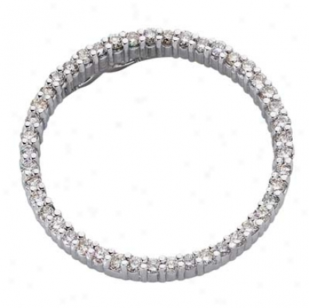 14k White Circle 0.63 Ct Diamond Pdndant