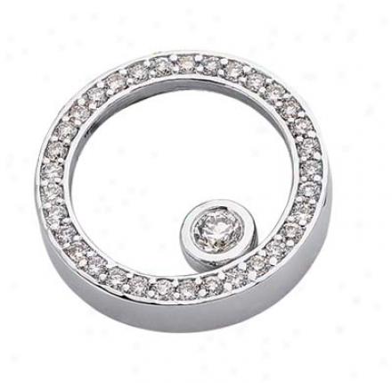 14k White Circle 0.65 Ct Diamond Pendant