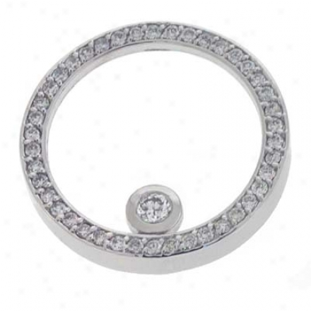 14k White Circle 0.78 Ct Brilliant Pendant