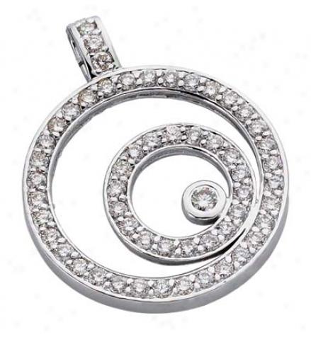 14k White Circle 1.29 Ct Diamond Pendant