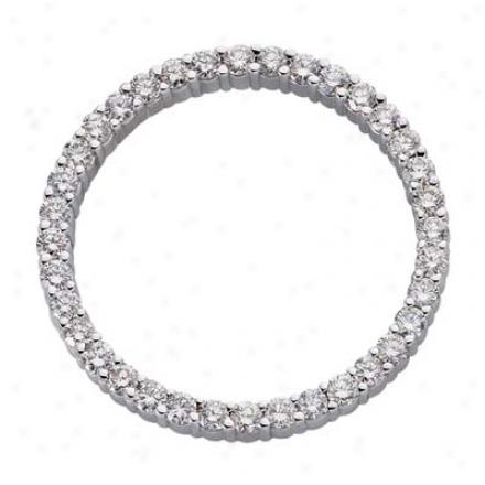 14k White Circle 1.91 Ct Diamond Pendant