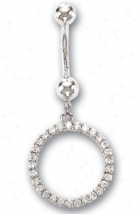 14k Happy Circle Of Life Cz Belly Ring