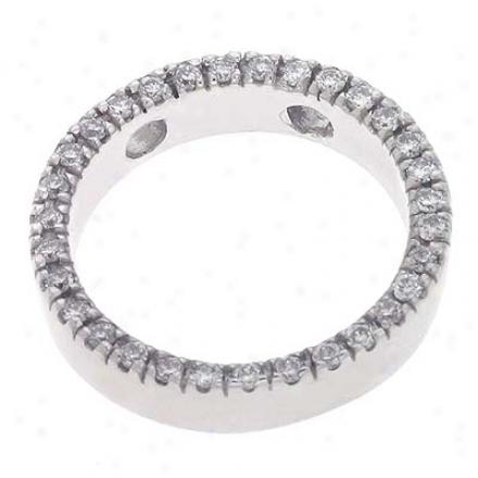 14k White Circle Shaped Charm 0.28 Ct Diamond Pendant