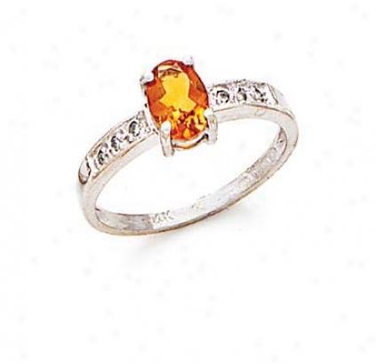 14k White Citrine And Diamond Ring